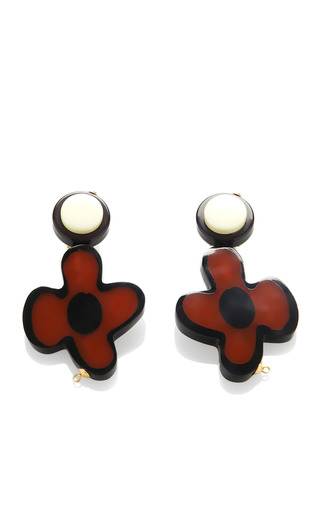 Medium marni red floral resin earrings 2