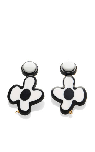 Medium marni ivory floral resin earrings