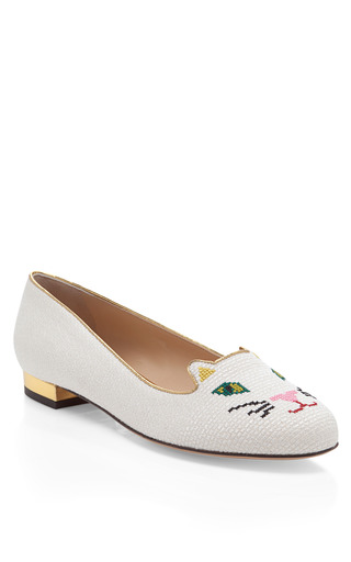Off White Kitty Flat by CHARLOTTE OLYMPIA Now Available on Moda Operandi