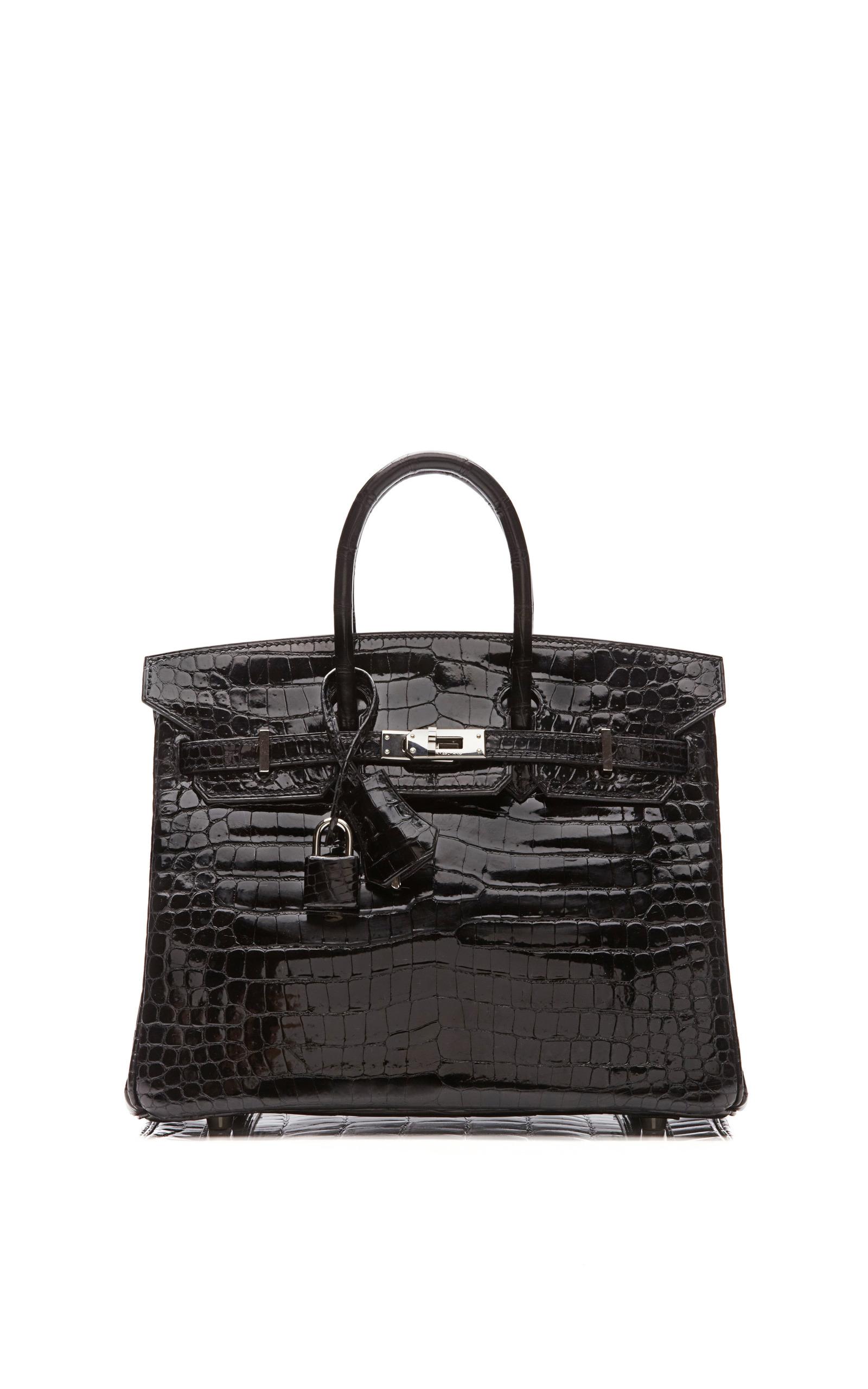 2a027427eb Hermes Vintage25Cm Shiny Black Porosus Crocodile Birkin. CLOSE. Loading