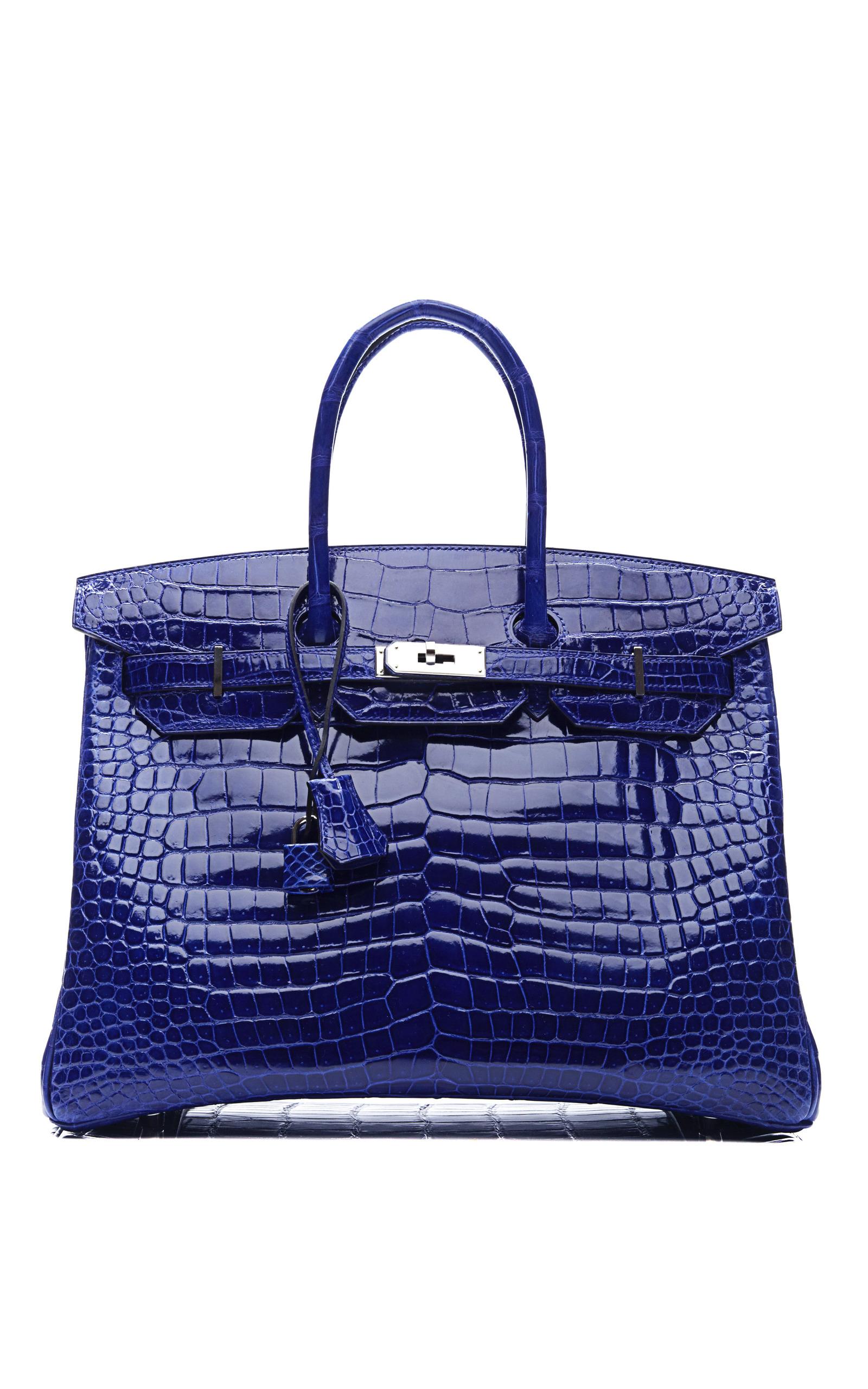 e818eecc127 Hermes Vintage35Cm Shiny Electric Blue Porosus Crocodile Birkin. CLOSE.  Loading