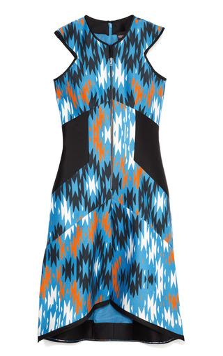 Medium bibhu mohapatra blue rabat print day dress