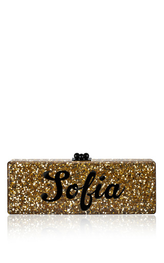 Medium edie parker black bespoke gold confetti flavia clutch with black text