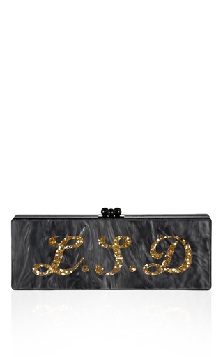 Medium edie parker gold bespoke steel pearlescent flavia clutch with gold confetti text