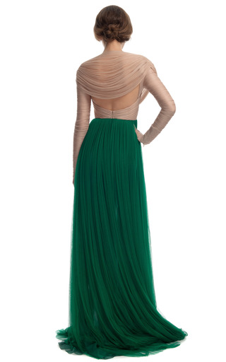 Two Tone Sheer Organza Gown by DELPOZO for Preorder on Moda Operandi
