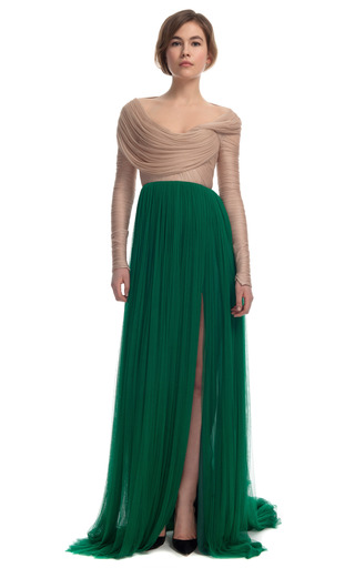 Medium delpozo green two tone sheer organza gown