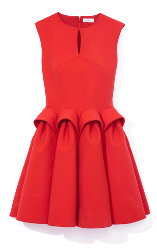 Medium delpozo red sleeveless sculpted waist dress