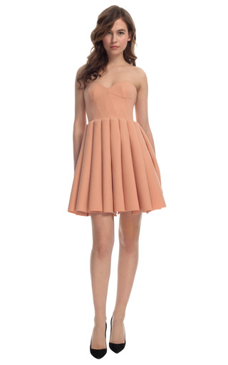 Medium delpozo pink exclusive sweetheart pleated dress