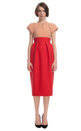 Medium delpozo red two tone sculpted shoulder dress