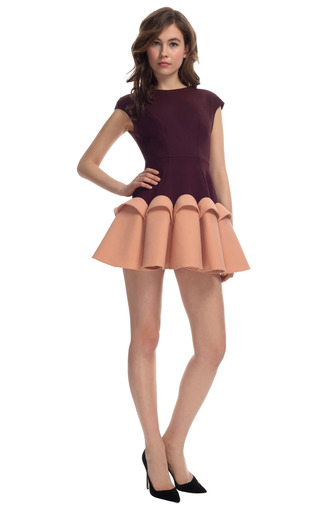 Medium delpozo pink two tone cap sleeve dress