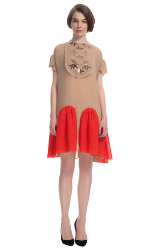 Medium delpozo pink embellished contrast gusset dress