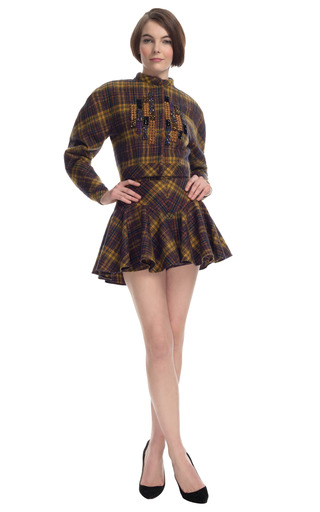 Medium delpozo brown plaid flared short