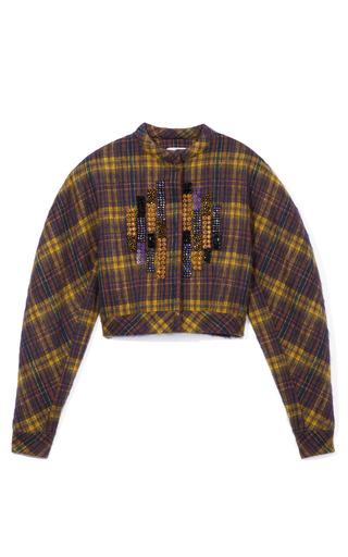 Medium delpozo brown embellished plaid jacket