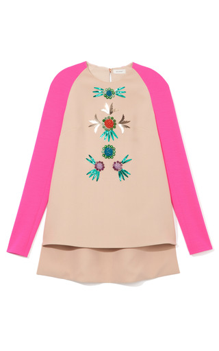 Medium delpozo pink embellished contrast sleeve tunic
