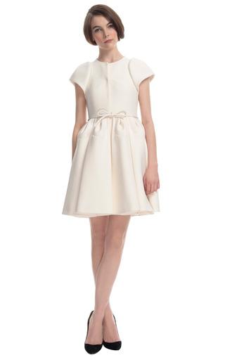 Medium delpozo brown sculpted sleeve coat dress