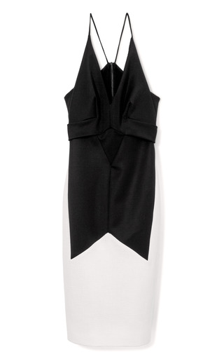 Medium narciso rodriguez black black and white fitted sleeveless dress