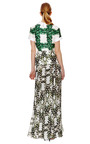 White And Green Ivy Trellis Printed Silk Gown by RODARTE Now Available on Moda Operandi