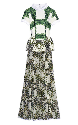 Medium rodarte black white and green ivy trellis printed silk gown