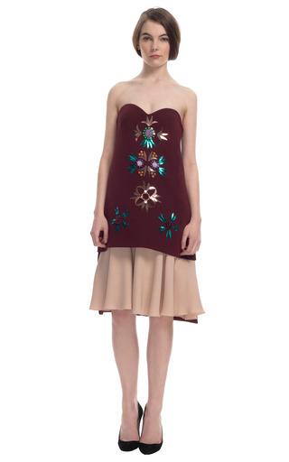 Medium delpozo pink embellished sweetheart overlay dress