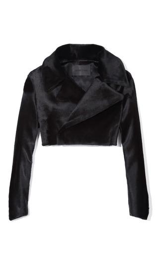 Medium cushnie et ochs black kangaroo fur and silk charmeuse jacket