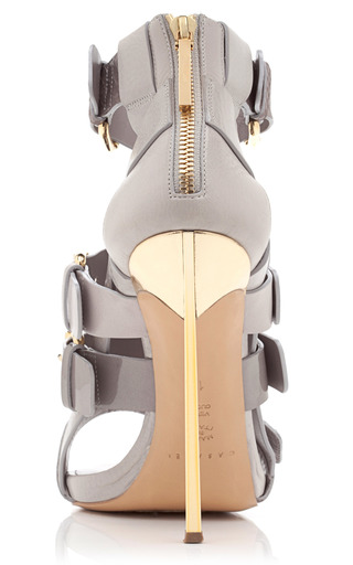 Grey Open Toe Bootie by PRABAL GURUNG for Preorder on Moda Operandi