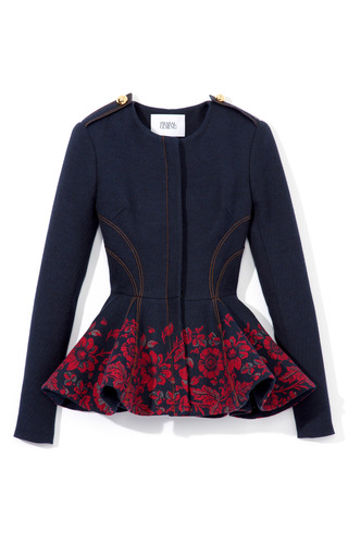 Medium prabal gurung red embroidered denim peplum jacket
