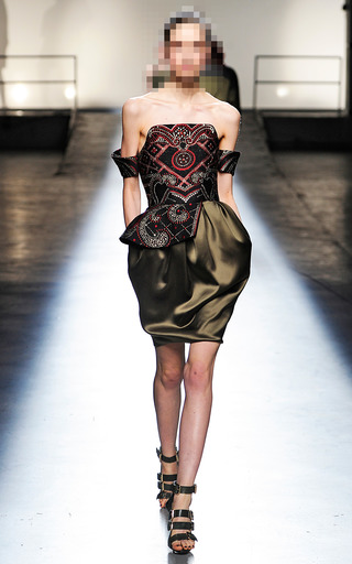 Asymmetrical Peplum Corset Dress by PRABAL GURUNG for Preorder on Moda Operandi