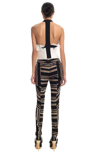 Gold Embroidered Skinny Pants by PRABAL GURUNG for Preorder on Moda Operandi