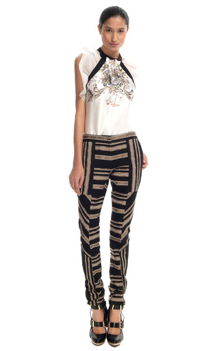 Medium prabal gurung gold gold embroidered skinny pants