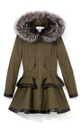 Patent Leather Fox Fur Trim Coat by PRABAL GURUNG for Preorder on Moda Operandi