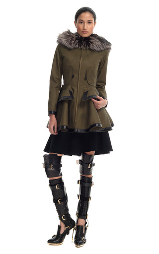 Medium prabal gurung olive patent leather fox fur trim coat