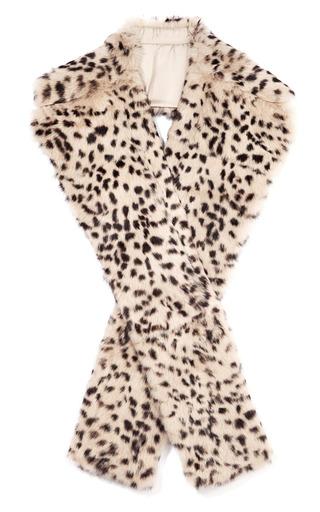 Medium thakoon print leopard fur scarf