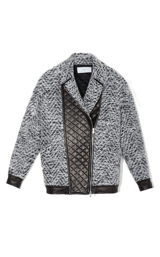 Medium thakoon addition dark grey quilted leather panel jacket