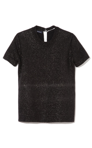 Medium peter som black bonded metallic sweater short sleeve top 2