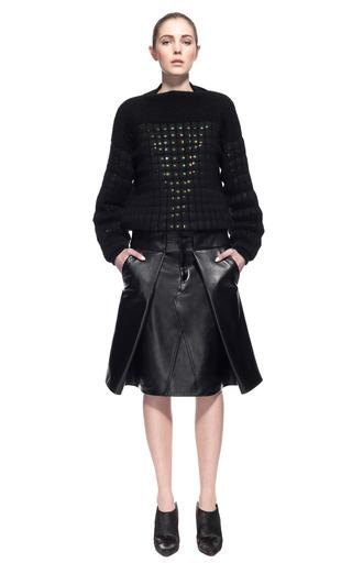 Medium alexander wang black pleat front leather skirt