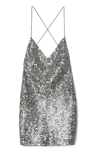 Pewter Mirror Sequin Tank Dress by MARC JACOBS for Preorder on Moda Operandi