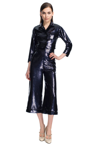 Grey Fish Scale Sequin Wide Leg Cropped Pants by MARC JACOBS for Preorder on Moda Operandi