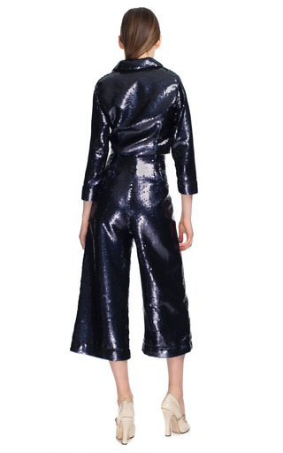 Grey Fish Scale Sequin Cropped Pajama Top by MARC JACOBS for Preorder on Moda Operandi