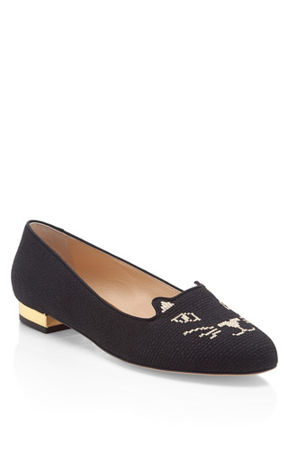 Medium charlotte olympia black kitty fabric embroidered slippers