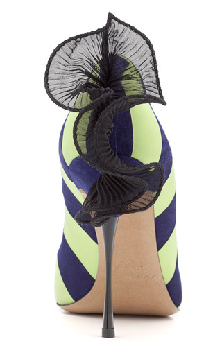 Stripe Ruffle Pump by NICHOLAS KIRKWOOD for Preorder on Moda Operandi