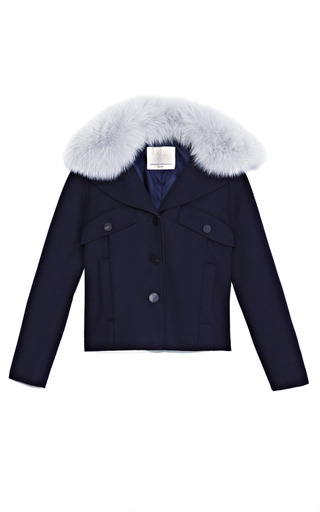 Medium opening ceremony navy cash three button overcoat with fox collar