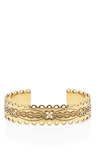 Medium aurelie bidermann gold calamity jane gold plated engraved cuff