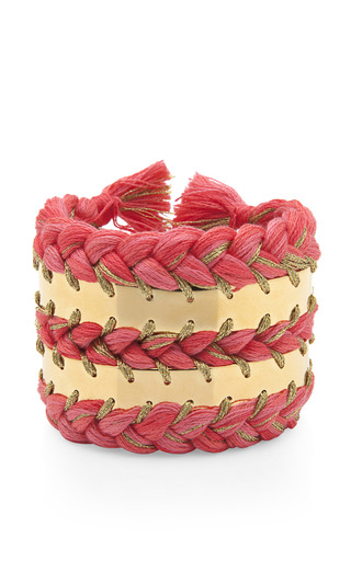 Medium aurelie bidermann pink 18k gold plated braided cuff