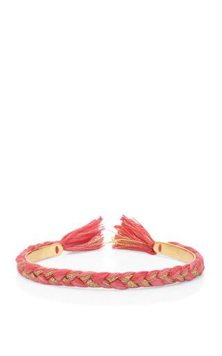 Medium aurelie bidermann pink copacabana 18k gold plated braided bangle 2