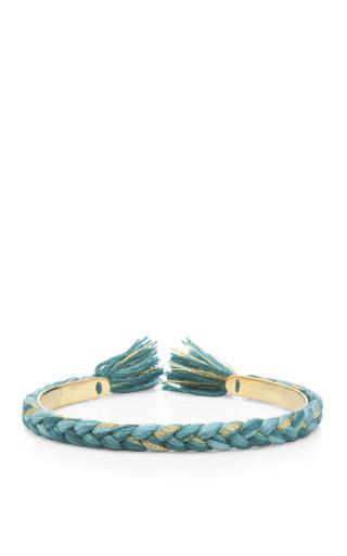 Medium aurelie bidermann green copacabana 18k gold plated braided bangle