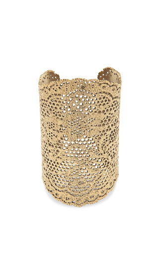 Medium aurelie bidermann gold yellow gold laser cut lace cuff 2