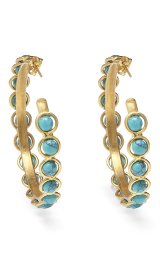Turquoise Hoop Earrings by SYLVIA TOLEDANO Now Available on Moda Operandi