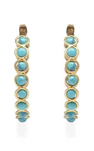 Medium sylvia toledano gold turquoise hoop earrings