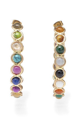 Medium sylvia toledano multi cabochon stone hoop earrings