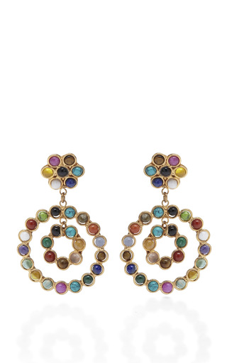 Medium sylvia toledano multi cabochon stone double hoop drop earrings